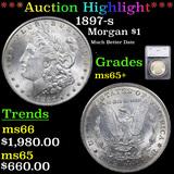 ***Auction Highlight*** 1897-s Morgan Dollar $1 Graded ms65+ By SEGS (fc)