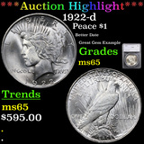 ***Auction Highlight*** 1922-d Peace Dollar $1 Graded ms65 By SEGS (fc)