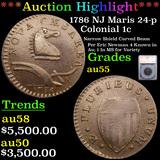 ***Auction Highlight*** 1786 NJ  Maris 24-p Colonial Cent 1c Graded au55 By SEGS (fc)
