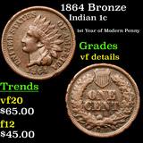 1864 Bronze Indian Cent 1c Grades vf details