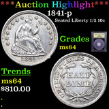 ***Auction Highlight*** 1841-p Seated Liberty Half Dime 1/2 10c Graded Choice Unc By USCG (fc)