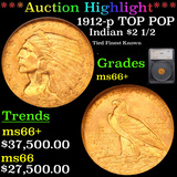 *HIGHLIGHT OF NIGHT** 1912-p TOP POP Gold Indian Quarter Eagle $2 1/2 Graded ms66+ By SEGS (fc)
