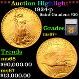 *HIGHLIGHT OF ENTIRE AUCTION* 1924-p Saint-Gaudens $20 Gold Double Eagle Graded ms67+ By SEGS (fc)