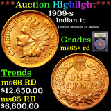 ***Auction Highlight*** 1909-s Indian Cent 1c Graded Gem+ Unc RD By USCG (fc)