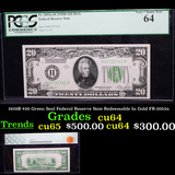 PCGS 1928B $20 Green Seal Federal Reserve Note Redeemable In Gold FR-2052a Graded cu64 By PCGS