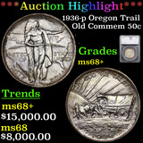 *HIGHLIGHT OF ENTIRE AUCTION* 1936-p Oregon Trail Old Commem Half Dollar 50c Graded ms68+ By SEGS (f