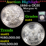 *HIGHLIGHT OF ENTIRE AUCTION* PCGS 1886-o OGH Morgan Dollar $1 Graded ms64 BY PCGS (fc)