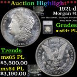 ***Auction Highlight*** 1921-d Morgan Dollar $1 Graded ms64+ PL By SEGS (fc)