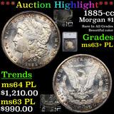 ***Auction Highlight*** 1885-cc Morgan Dollar $1 Graded ms63+ PL By SEGS (fc)