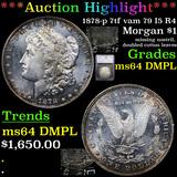 ***Auction Highlight*** 1878-p 7tf vam 79 I5 R4 Morgan Dollar $1 Graded ms64 DMPL By SEGS (fc)