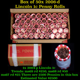 Box of 50 Rolls of 2006-d Gem Unc Lincoln Cents 1c, 50 Coins Each 2500 Coins total