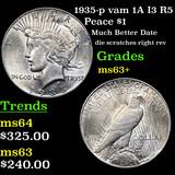 1935-p vam 1A I3 R5 Peace Dollar $1 Grades Select+ Unc