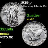 1929-p Standing Liberty Quarter 25c Grades Select Unc