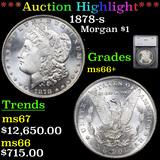 ***Auction Highlight*** 1878-s Morgan Dollar $1 Graded ms66+ By SEGS (fc)