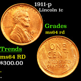 1911-p Lincoln Cent 1c Grades Choice Unc RD