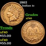 1862 Indian Cent 1c Grades xf