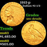 1912-p Gold Indian Quarter Eagle $2 1/2 Grades Unc Details