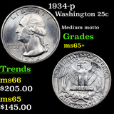 1934-p Washington Quarter 25c Grades GEM+ Unc