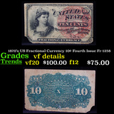 1870's US Fractional Currency 10¢ Fourth Issue Fr-1258 Grades vf details