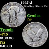 1927-d Standing Liberty Quarter 25c Grades f+