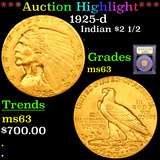 ***Auction Highlight*** 1925-d Gold Indian Quarter Eagle $2 1/2 Graded Select Unc By USCG (fc)