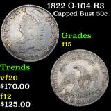 1822 O-104 R3 Capped Bust Half Dollar 50c Grades f+