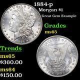 1884-p Morgan Dollar $1 Grades GEM Unc