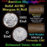 ***Auction Highlight***  AU/BU Slider Brinks Shotgun Morgan $1 Roll 1901 & O Ends Virtually UNC (fc)