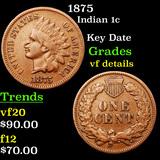 1875 Indian Cent 1c Grades vf details