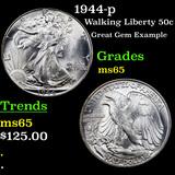 1944-p Walking Liberty Half Dollar 50c Grades GEM Unc