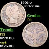 1901-o Barber Quarter 25c Grades f, fine