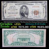 1929 $5 National Currency 'The Security-First Natioanl Bank Of LA, CA' Grades vf+