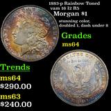 1883-p Rainbow Toned vam 16 I2 R5 Morgan Dollar $1 Grades Choice Unc