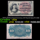 1870's US Fractional Currency 10¢ Fourth Issue Fr-1258 Grades vf+