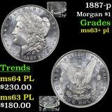 1887-p Morgan Dollar $1 Grades Select Unc+ PL