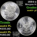 1884-o Morgan Dollar $1 Grades Select Unc+ PL