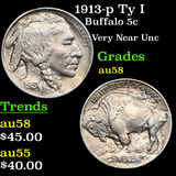 1913-p Ty I Buffalo Nickel 5c Grades Choice AU/BU Slider