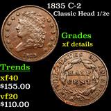 1835 C-2 Classic Head half cent 1/2c Grades xf details