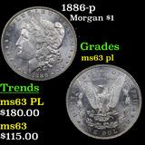 1886-p Morgan Dollar $1 Grades Select Unc PL