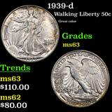 1939-d Walking Liberty Half Dollar 50c Grades Select Unc