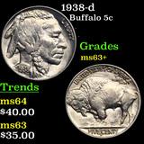 1938-d Buffalo Nickel 5c Grades Select+ Unc