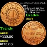 1863 IOU 1 Cent F-NY-630-AT-4a R4 Civil War Token 1c Grades Choice AU/BU Slider