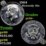 Proof 1964 Kennedy Half Dollar 50c Grades GEM++ Proof