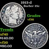 1913-d Barber Quarter 25c Grades vf++