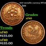 1837 metallic curency HT-18 Hard Times Token 1c Grades xf