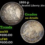 1891-p Seated Liberty Quarter 25c Grades AU Details