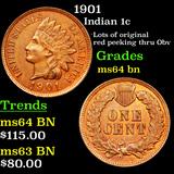 1901 Indian Cent 1c Grades Choice Unc BN
