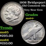 1936 Bridgeport Old Commem Half Dollar 50c Grades Choice+ Unc