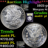 ***Auction Highlight*** 1921-p Morgan Dollar $1 Graded Select Unc+ PL By USCG (fc)