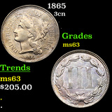 1865 Three Cent Copper Nickel 3cn Grades Select Unc